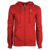 Ladies Red Fleece Full Zip Hoodie-Official Logo