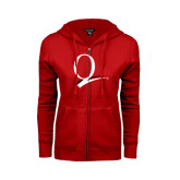 ENZA Ladies Red Fleece Full Zip Hoodie-Q Logo