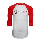 White/Red Raglan Baseball T-Shirt-Queens College Stacked