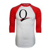 White/Red Raglan Baseball T-Shirt-Q Logo