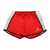Ladies Red/White Team Short-Official Logo