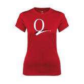 Ladies Syntrel Performance Red Tee-Q Logo