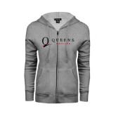 Ladies Grey Fleece Full Zip Hoodie-Queens College Stacked