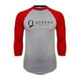 Grey/Red Raglan Baseball T Shirt-Queens College Stacked