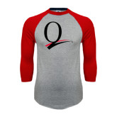 Grey/Red Raglan Baseball T Shirt-Q Logo