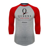 Grey/Red Raglan Baseball T Shirt-Alumni