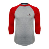 Grey/Red Raglan Baseball T Shirt-Official Logo