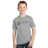 Youth Grey T-Shirt-Queens College Stacked