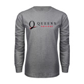 Grey Long Sleeve T Shirt-Queens College Stacked
