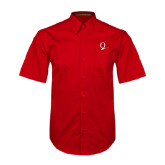 Red Twill Button Down Short Sleeve-Q Logo