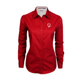 Ladies Red Twill Button Down Long Sleeve-Q Logo