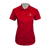 Ladies Red Twill Button Up Short Sleeve-Official Logo