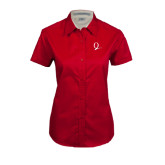 Ladies Red Twill Button Up Short Sleeve-Q Logo