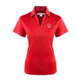 Ladies Red Performance Fine Jacquard Polo-Q Logo
