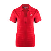 Ladies Red Horizontal Textured Polo-Q Logo