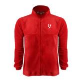 Fleece Full Zip Red Jacket-Q Logo