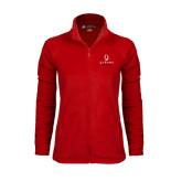 Ladies Fleece Full Zip Red Jacket-Official Logo
