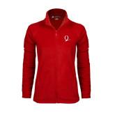 Ladies Fleece Full Zip Red Jacket-Q Logo