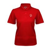 Ladies Red Dry Mesh Polo-Q Logo