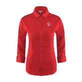 Ladies Red House Red 3/4 Sleeve Shirt-Q Logo