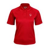 Ladies Red Textured Saddle Shoulder Polo-Q Logo