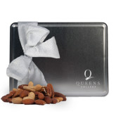 Deluxe Nut Medley Silver Large Tin-Queens College Stacked Engraved