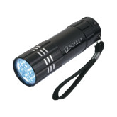 Industrial Triple LED Black Flashlight-Queens College Stacked Engraved