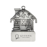Pewter House Ornament-Queens College Stacked Engraved