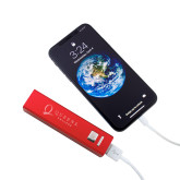 Aluminum Red Power Bank-Queens College Stacked Engraved