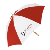 62 Inch Red/White Vented Umbrella-Queens College Stacked