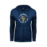 ENZA Ladies Navy Fleece Full Zip Hoodie-Queensborough Tigers