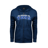 ENZA Ladies Navy Fleece Full Zip Hoodie-Arched Queensborough Tigers