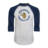 White/Navy Raglan Baseball T-Shirt-Queensborough Tigers