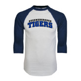 White/Navy Raglan Baseball T-Shirt-Arched Queensborough Tigers