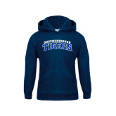 Youth Navy Fleece Hoodie-Arched Queensborough Tigers