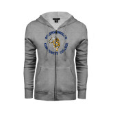 ENZA Ladies Grey Fleece Full Zip Hoodie-Queensborough Tigers