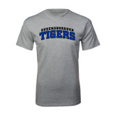 Grey T Shirt-Arched Queensborough Tigers
