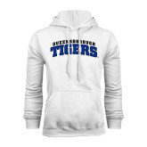 White Fleece Hoodie-Arched Queensborough Tigers