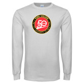 White Long Sleeve T Shirt-York College 50th Anniversary