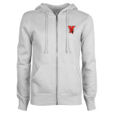 ENZA Ladies White Fleece Full Zip Hoodie-Cardinal