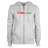 ENZA Ladies White Fleece Full Zip Hoodie-Officlal Logo