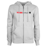 ENZA Ladies White Fleece Full Zip Hoodie-York College with CUNY Square