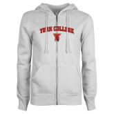 ENZA Ladies White Fleece Full Zip Hoodie-York College Arched with Cardinal
