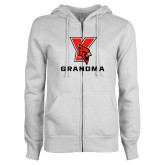ENZA Ladies White Fleece Full Zip Hoodie-Grandma