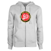 ENZA Ladies White Fleece Full Zip Hoodie-York College 50th Anniversary