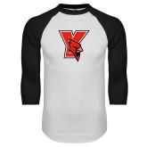 White/Black Raglan Baseball T-Shirt-Cardinal