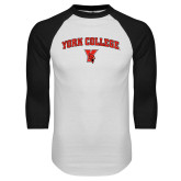 White/Black Raglan Baseball T-Shirt-York College Arched with Cardinal