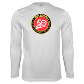 Performance White Longsleeve Shirt-York College 50th Anniversary