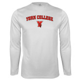 Performance White Longsleeve Shirt-York College Arched with Cardinal