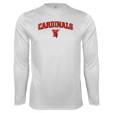 Performance White Longsleeve Shirt-Cardinals Arched with Cardinal